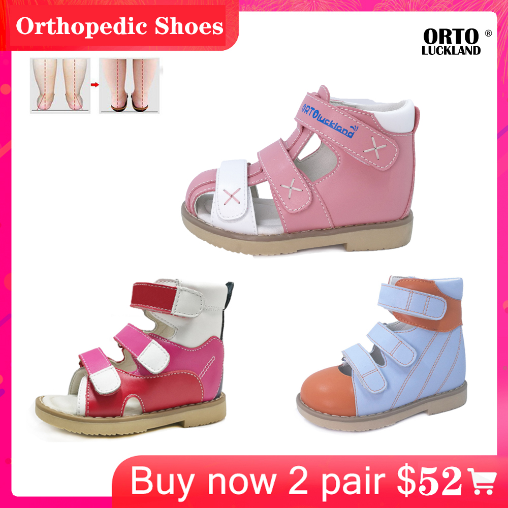 Ortoluckland Baby Shoes Orthopedic Kids Leather Sandals Boys Girls Summer Flatfoot Closed Toe Shoes With Orthotic Insole