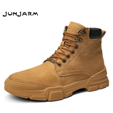 JUNJARM 2019 Men Boots Outdoor Tooling Soft Cushioning Microfiber Leather Quality Tactical Ankle Botas Army
