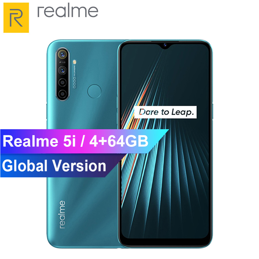 Realme 5i 6.5 Inch Mobile Phone Snapdragon 665 AIE 12MP Quad Camera 4GB RAM 64GB ROM Cellphone 5000mAh Smartphone Global Version