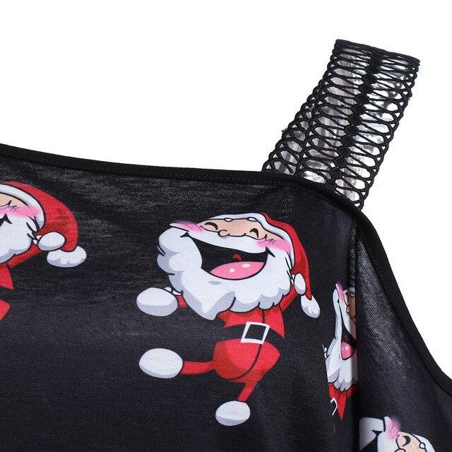 Vetement femme mujer ropa de Navidad imprimir blusas de manga larga de hombro negro rojo camisa felpe donna sweat femme bluza #35