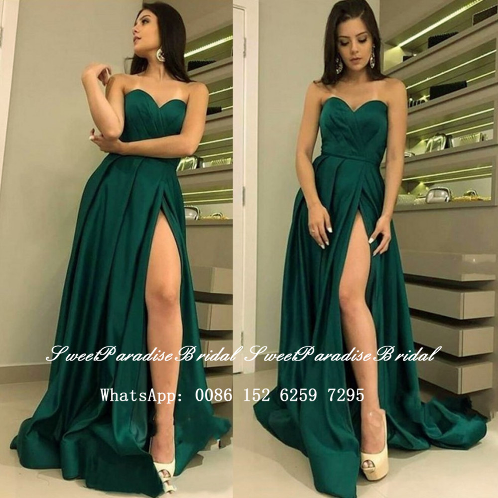 Sexy Side Split Dark Green Satin Bridesmaid Dresses 2020 Sweetheart Neck A Line Formal Wedding Party Dress Vestidos Fiesta Boda