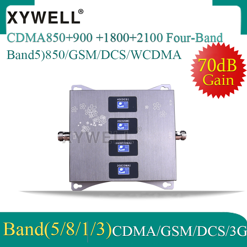 Four-Band CDMA850/900/1800/2100mhz Mobile Signal Booster 4G Cellular Amplifier GSM Repeater 2G 3G 4G Booster CDMA GSM DCS WCDMA