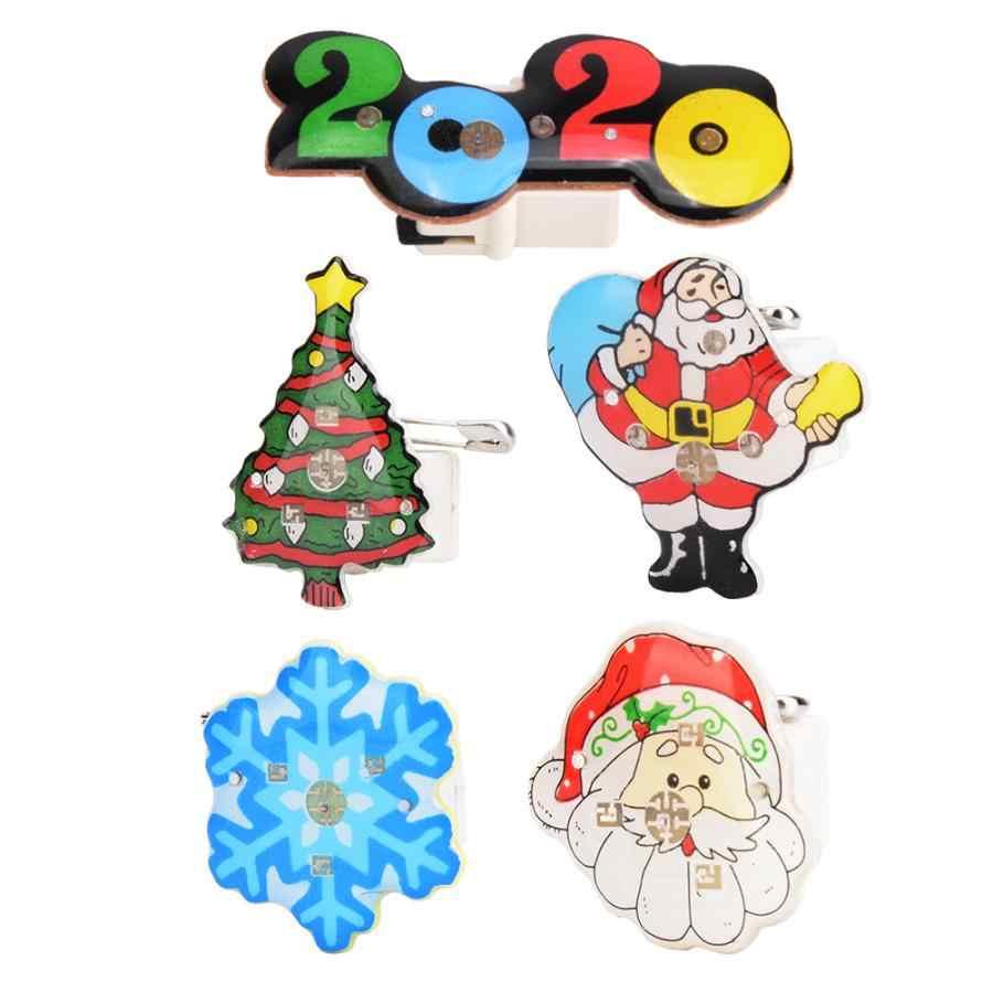 25 Pcs Tahun Baru Natal Tema LED Bercahaya Bros Pin Lencana Pesta DIY Dekorasi