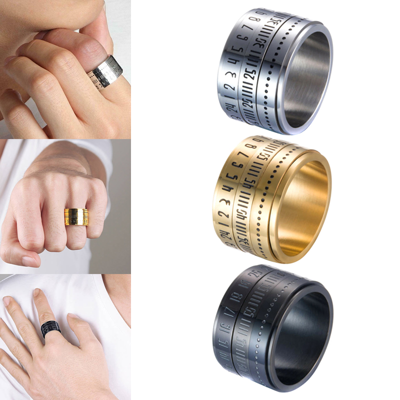 Retro Wide Rotatable Number Clock Time Best Original Color Steel Band Ring Circle Fashion Men Ring Gift d88 image