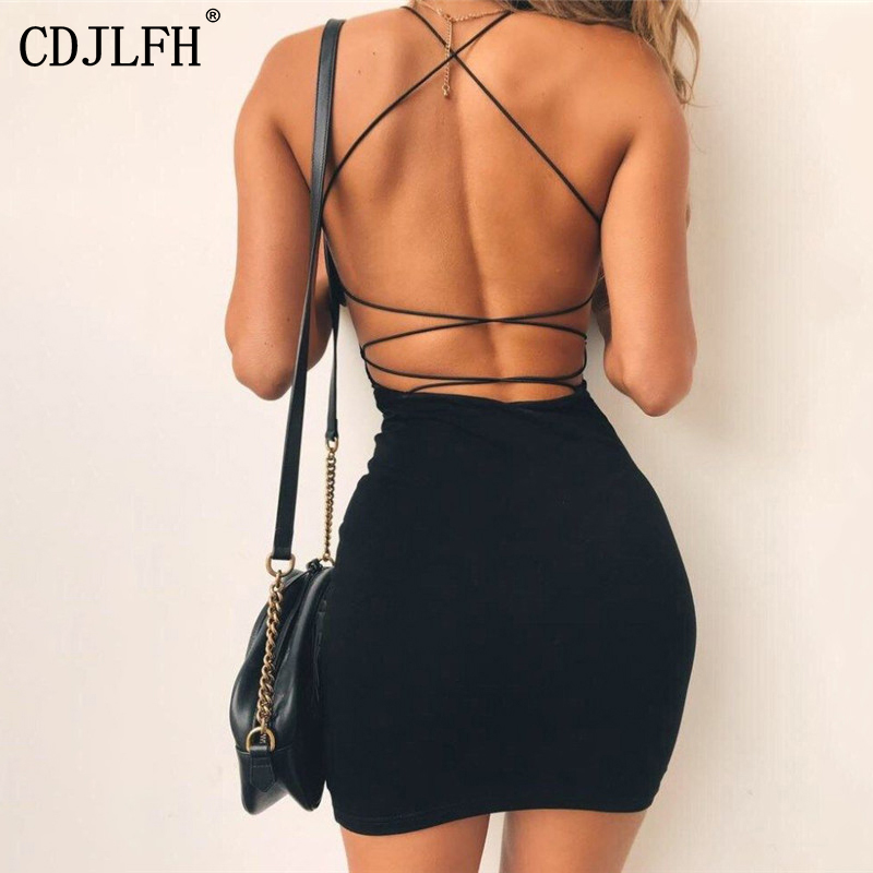 New Sexy Dress Women Solid Color Backless Spaghetti Straps Night Club Dress Summer Sleeveless Bodycon Evening Party Mini Dresses