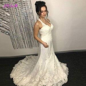 Свадебные платья русалки с лямкой на шее, кружевной аппликацией, открытой спиной, свадебные платья невесты, платье de mariee на заказ