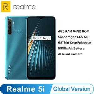 Image 1 - Global Version OPPO Realme 5i  (RMX2030) 4GB 64GB Snapdragon 665 AIE 12MP Quad Camera 6.5 Smartphone 1600x720 5000mAh 4G