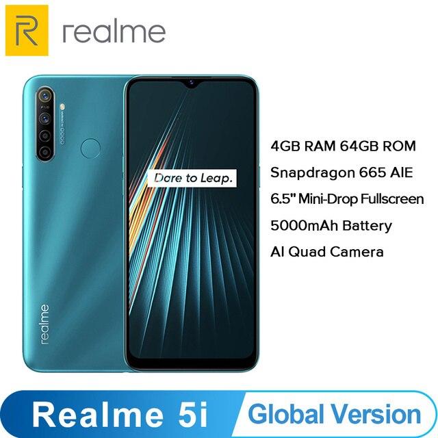 Global Version OPPO Realme 5i  (RMX2030) 4GB 64GB Snapdragon 665 AIE 12MP Quad Camera 6.5 Smartphone 1600x720 5000mAh 4G