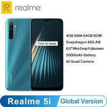 הגלובלי גרסה OPPO Realme 5i (RMX2030) 4GB 64GB Snapdragon 665 AIE 12MP Quad מצלמה 6.5 Smartphone 1600x720 5000mAh 4G