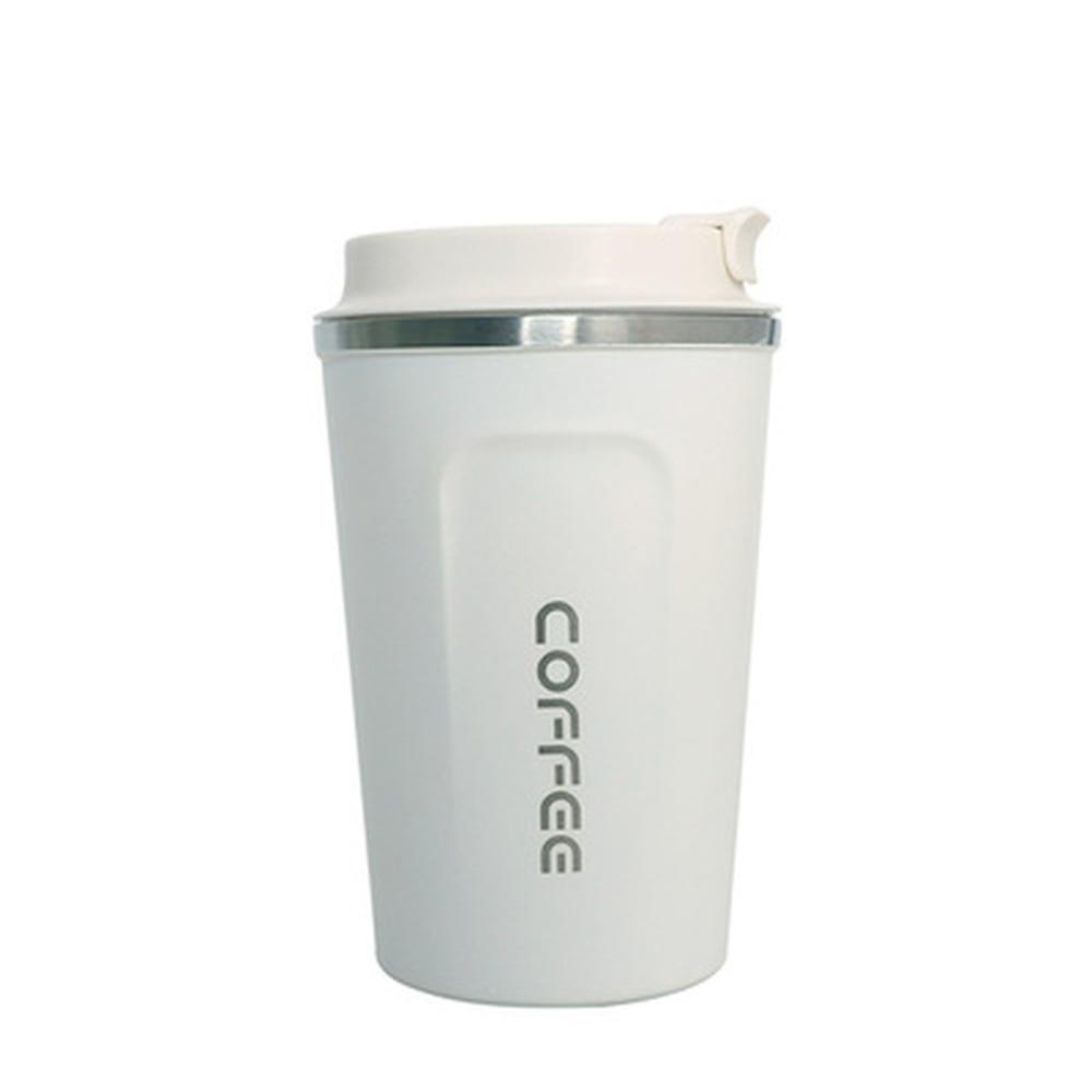 SOLEDI, 304, нержавеющая сталь, кофейная кружка с крышкой, с изоляцией, для молока, воды, чая, чашка, герметичная, для путешествий, термос, колба, 380 мл, 510 мл - Цвет: White