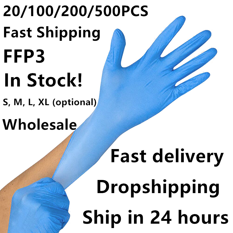 20/100/500 Pcs Disposable Latex Nitrile Glove Working Gloves Waterproof Allergy Free Safety Gloves FFP3 Gloves For Medical House
