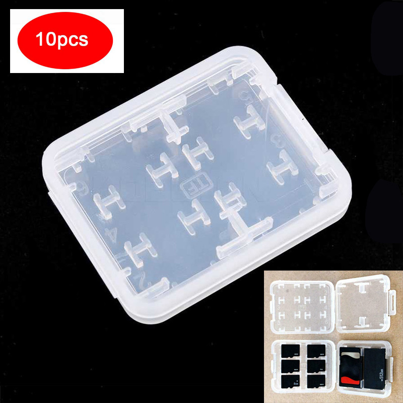 10PCS 8 Slots Micro SD TF MS Memory Card Storage Holder Box Protector White Plastic Wholesale Case For TF Card SD MMC/MSPD/MS
