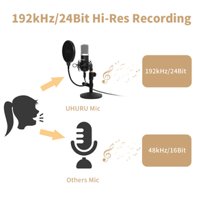 Image 2 - UHURU UM910 USB Microphone 192 kHz/24Bit Condenser Podcast Mikfofon Plug&Play Computer Mic for Gaming Youtube Vocal Recording