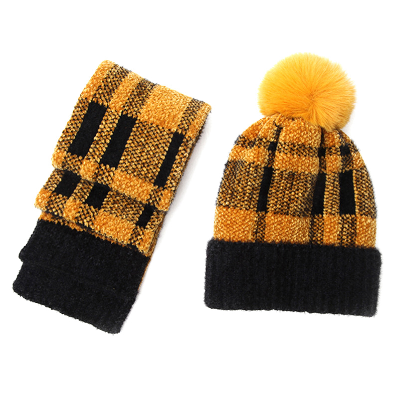 Hot Kf-Plaid Scarf Set Winter Warm Wool Hat Plus Velvet Girl Hat Set