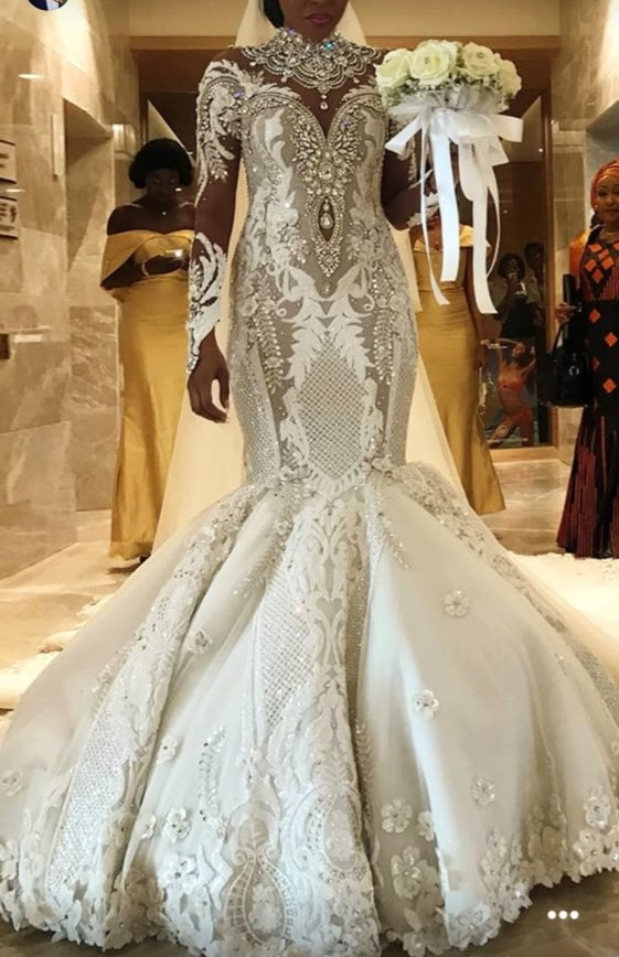 2020 Casamento High Neck Lace Mermaid African Wedding Dresses Sleeves Luxury Crystal Bridal Gowns 3D Flower Vestido De Noiva