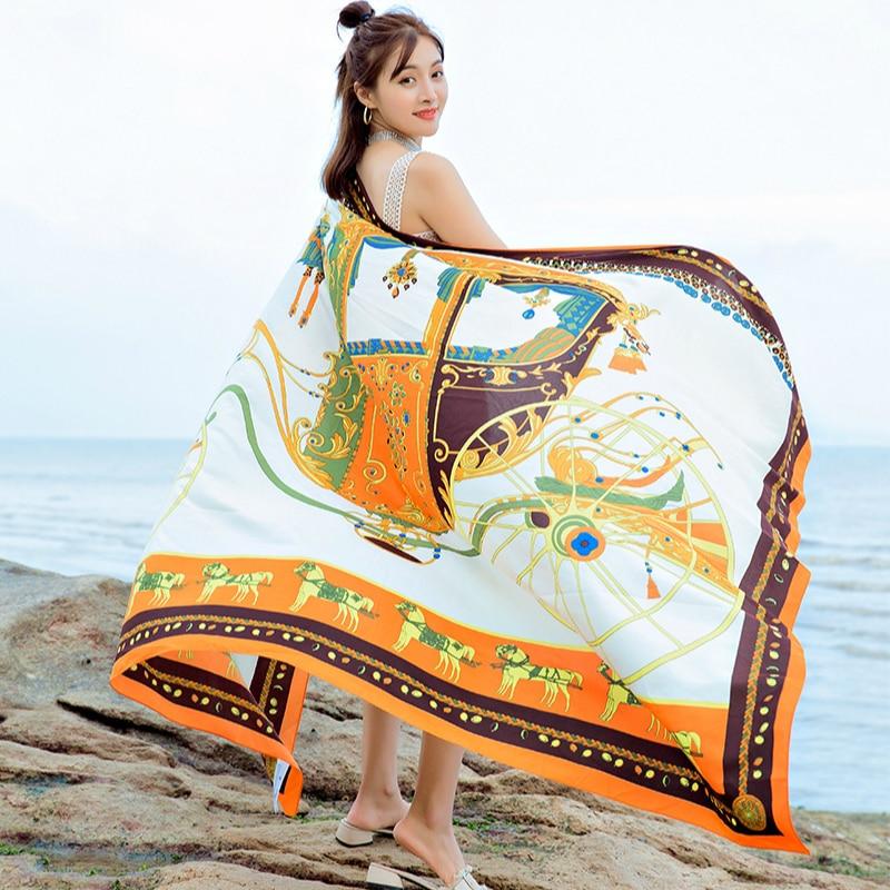 2020 Women Scarf Design Print National Style Luxury Horse Animal Scarves Polyester Lady Beach Shawls Pashmina Foulard Bufanda