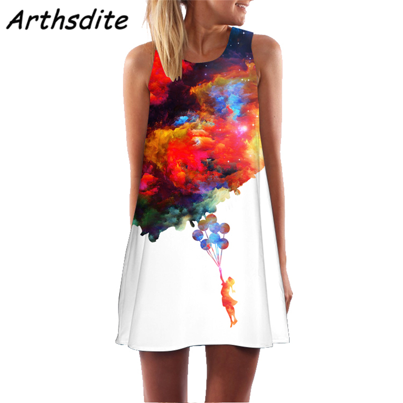 Arthsdite 2019 Women Summer Dress Floral Print Sleeveless Casual Tank Chiffon Short Retro Vintage Dresses Vestidos