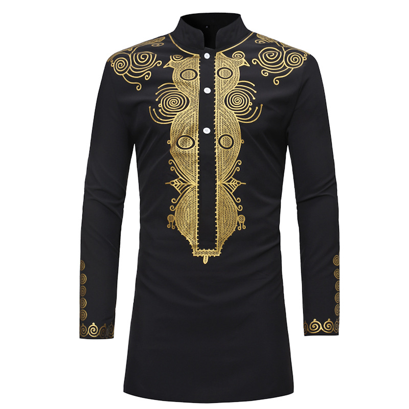 Men's African Dashiki Dress Shirt Camisas Hombre 2020 Brand New Long Sleeve African Clothes Hip Hop Streetwear African Clothing