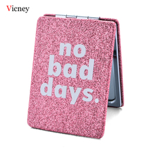 Vicney Brand Pink Portable Square Double Side Folding Mini Compact Pocket Cute Makeup Mirror Travel Gift For Women Girl