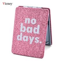 Vicney marka pembe taşınabilir kare çift taraflı katlanır Mini kompakt cep sevimli makyaj aynası seyahat ayna hediye kadınlar için kız
