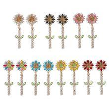 Bohemia Sunflower Tassel Dangle Earrings Women Shiny Crystal Flower Sunshine Drop Earrings Wedding Party Floral Jewelry artificial crystal floral hollowed heart drop earrings