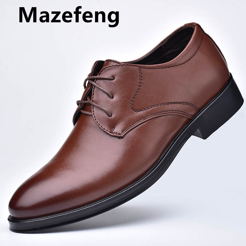 Mazefeng New Men Leather Shoes Business Men'S Dress Shoes Fashion Casual Wedding Shoes Comfortable Pointed Solid Color Men Shoes