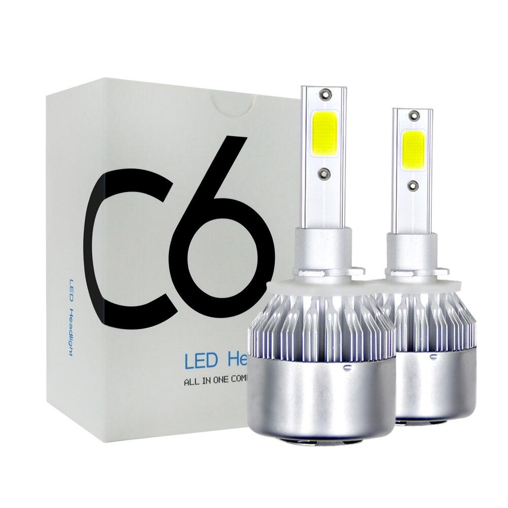 2 шт. C6 светодиодный автомобильных фар 72 Вт 7200LM COB авто фары лампы H1 H3 H4 H7 H11 H13 880 9004 9005 9006 9007 автомобильный Стайлинг огни Передние LED-фары для авто      АлиЭкспресс