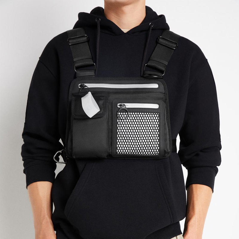 Men Chest Rig Bag Reflective Tactical Hip-hop Chest Bag Men Functional Vest Pack Male Waist Bags Abdomon Pack Shoulder Bags