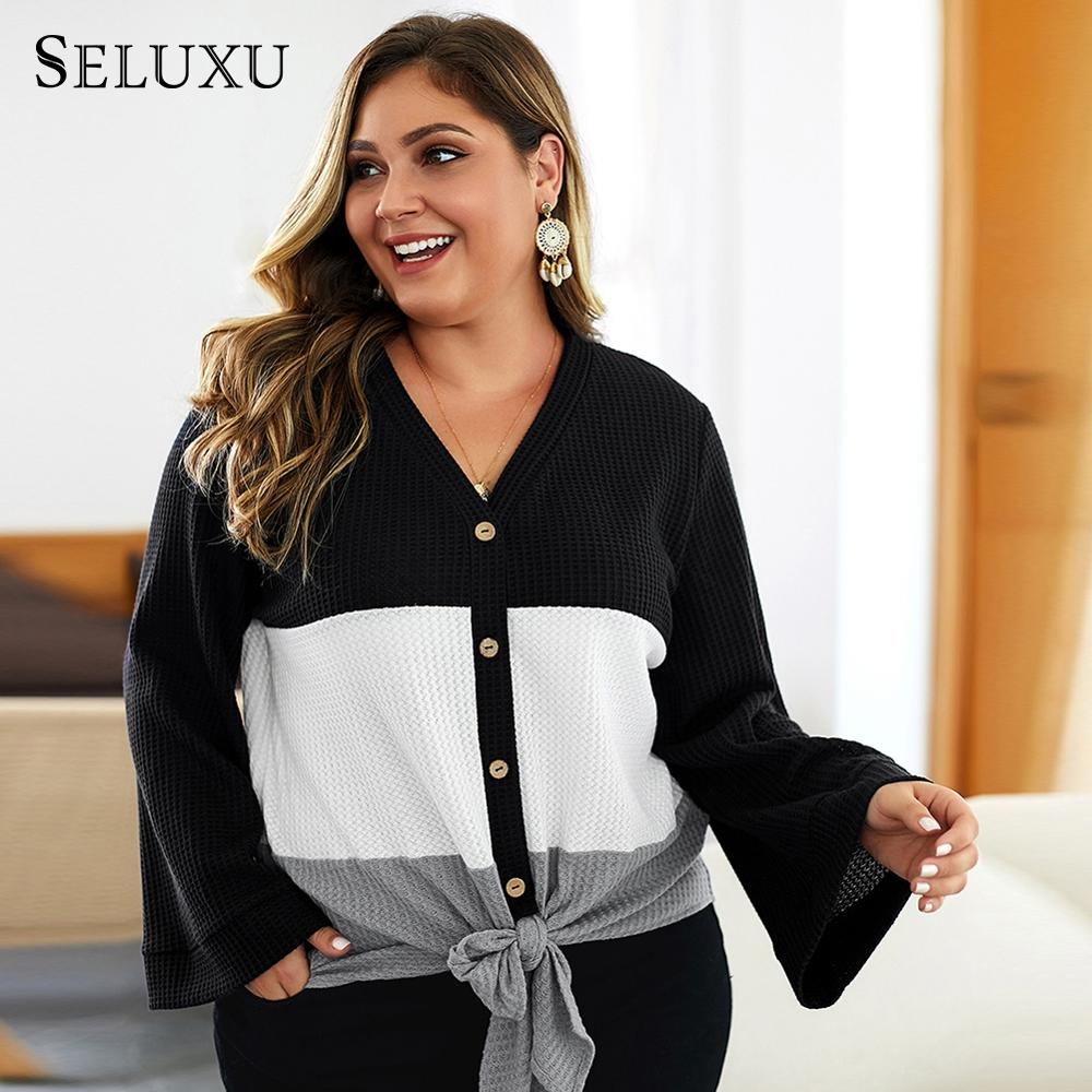 Seluxu Autumn Plus Size Women Sweater V-Neck Flare Sleeve Tops  Large Long Patchwork Color