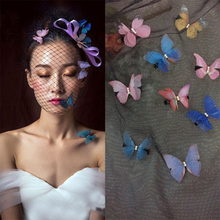 20PCS Double Layers Tulle Butterfly Colorful Party Christmas Festival Wedding Decor Dress Needlework Decora handmade Craft