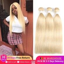 Blond proste włosy peruwiańskie wiązki 1/3/4 sztuk Ombre blond 1B 613 kolor Remy ludzki włos pasma do przedłużania włosów dla kobiet euforii