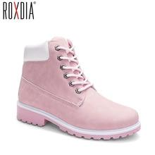 ROXDIA الخريف الشتاء النساء حذاء من الجلد موضة جديدة امرأة أحذية الثلوج للفتيات السيدات أحذية عمل حجم كبير 36 41 RXW762