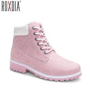 Image 1 - ROXDIA/женские ботильоны; Сезон осень зима; Новые модные женские зимние ботинки для девочек; Женская рабочая обувь; Большие размеры 36 41; RXW762