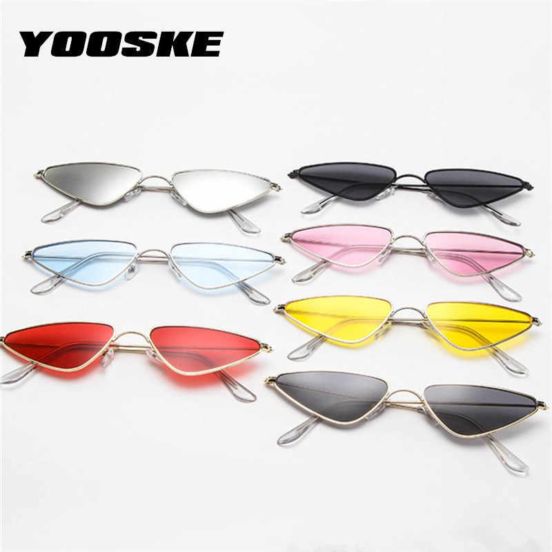 YOOSKE lunettes de soleil oeil de chat pour femmes hommes Vintage petit cadre en métal rouge lunettes de soleil femme mâle marque design rétro lunettes