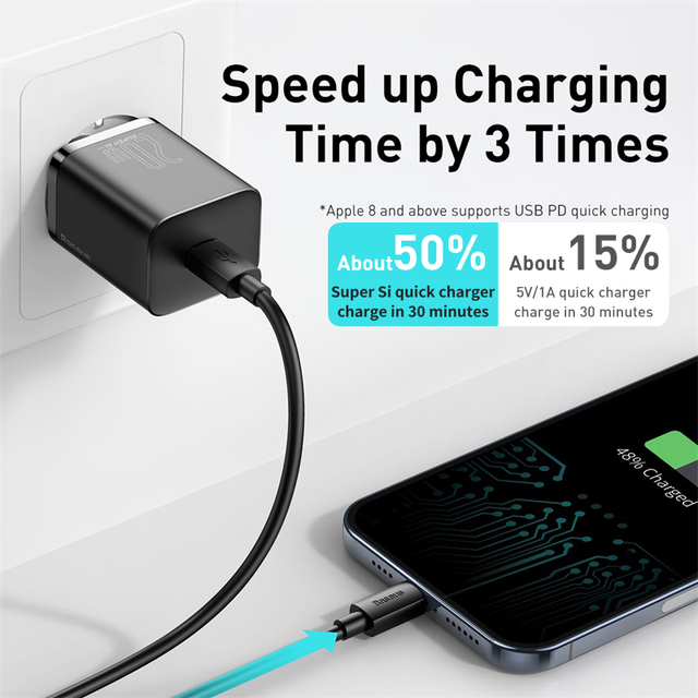 Baseus Super Si USB C Charger 20W Support Type C PD Fast Charging Portable Phone Charger For iPhone 12 Pro Max 11 Mini 8 Plus 3