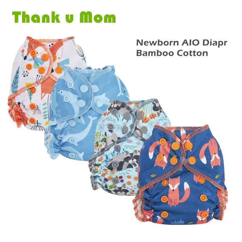 Благодарим Вас мама тканевые подгузники для новорожденных All In One подходит 2-5 кг Детские многоразовые подгузники, двойные вставки органичес...
