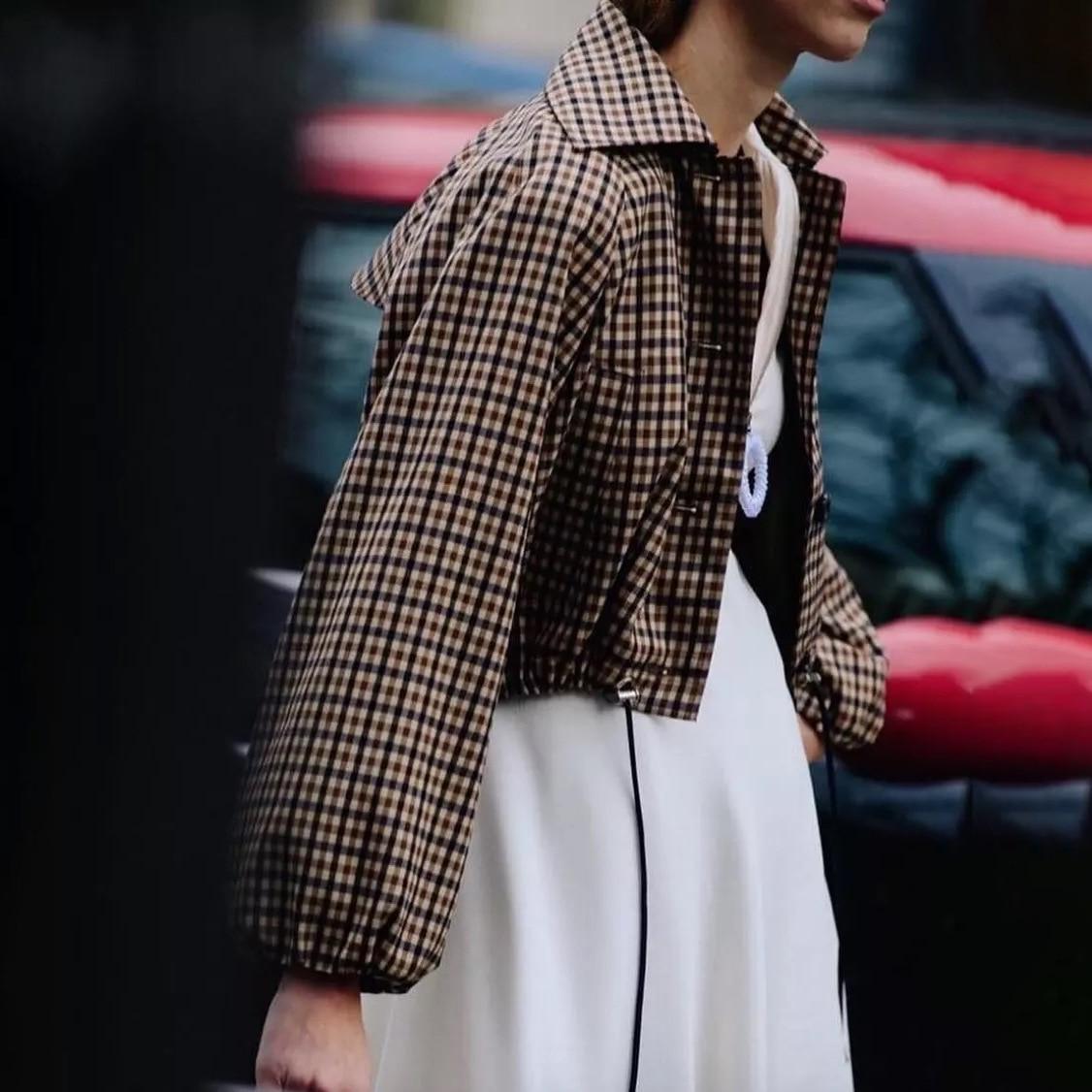 북유럽 틈새 2019 가을, 겨울 코트와 재킷 여성 새로운 복고풍 drawstring 격자 무늬 여성 자켓-에서베이식 쟈켓부터 여성 의류 의  그룹 1