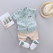 Baby Jungen Gentleman Outfits Anzug Kleinkind Kind Baby Junge Cartoon Floral Shirt Tops Shorts Outfits Tuch Sommer Set Kid Kleidung