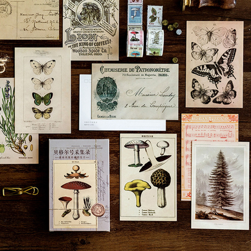 30 Pcs/set Forest Animals Plants Postcard Vintage Style Creative Writing Greeting Gift Postcards Message Card Gift Card