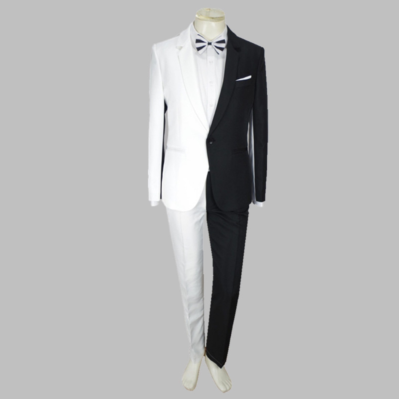 New Male Singers Stage Costume Suit White+Black Splicing Three Set Cosplay Clown Celebrate Outfit DJ Costume Men Clothes VDB810