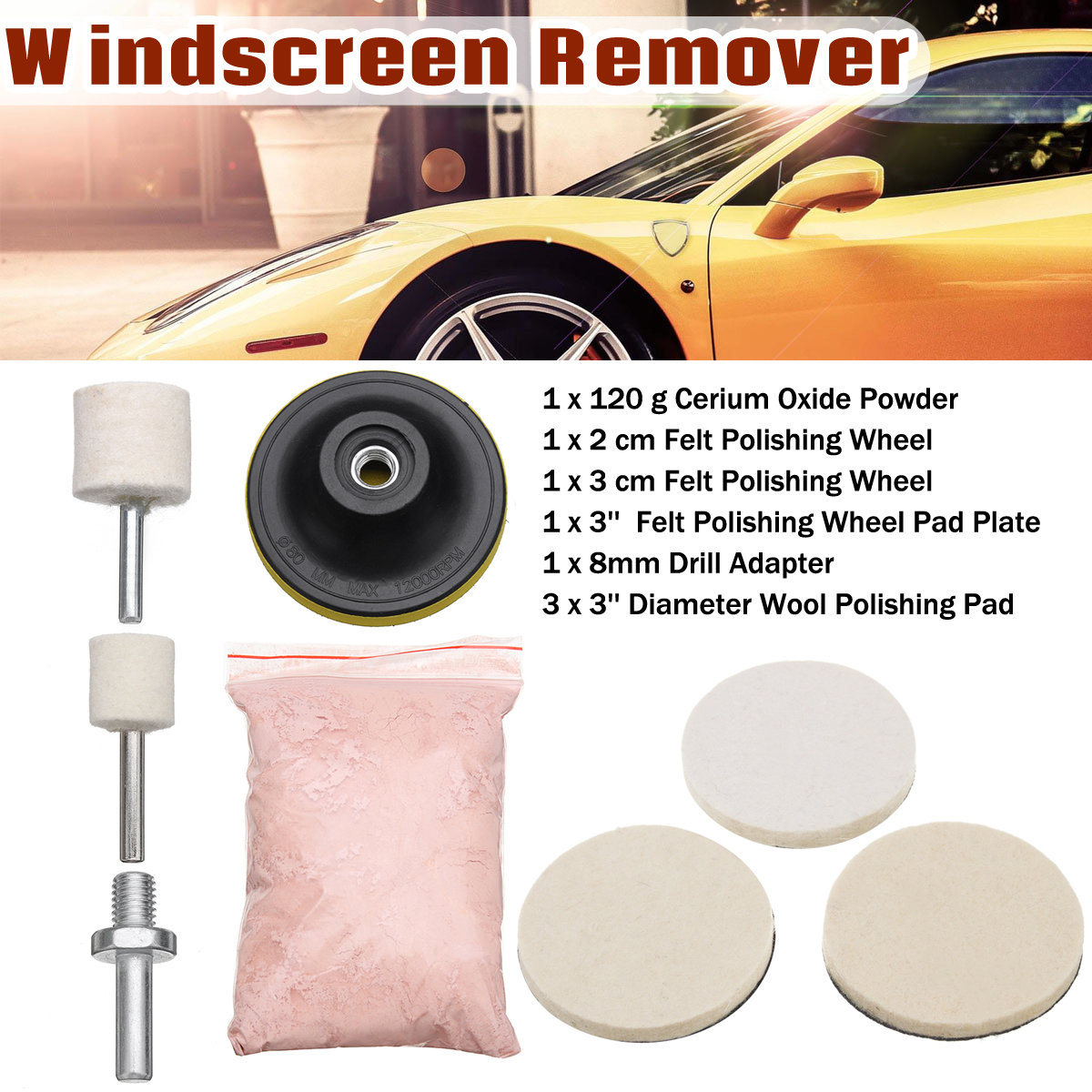 New 8Pcs 120g Cerium Oxide Glass Polishing Powder Kit Deep Scratch Remover For Windscreen Windows Glass Cleaning Scratch Removal