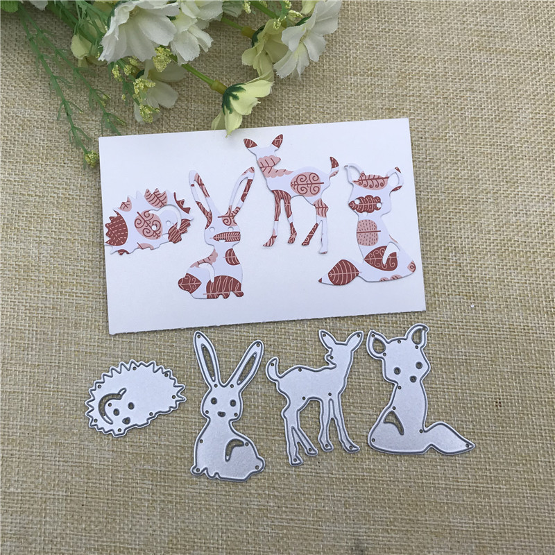 4Pcs Rabbit Fox Deer Hedgeh Metal Cutting Dies Stencils For DIY Scrapbooking Decorative Embossing Handcraft Die Cutting Template
