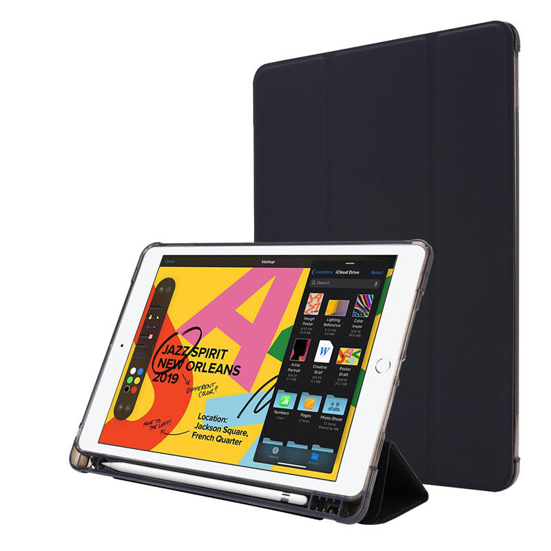 black Red For iPad Case 7th Generation Flip Stand Protective Case with Pencil Holder Smart Cover For iPad