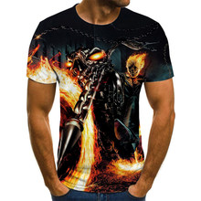 Hottest Summer Men's Short Sleeve Fashion Fire Skull Ghost Knight Cool Rock Print 3D T-Shirt and Top