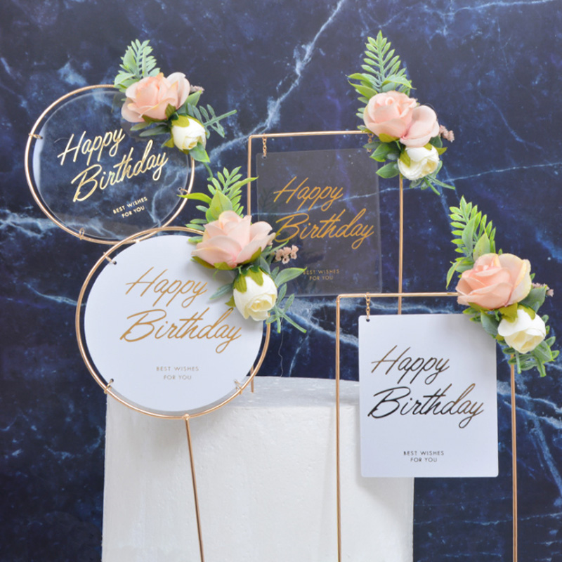 Cake Decoration Sen Department Small Fresh Acrylic Simulation Gardening Flowers Hot Stamping Happy Birthday Card Dessert