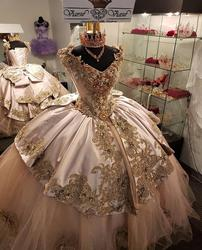 Pink Beads Quinceanera Dresses Appliques Ball Gown Sparkly Sweet 16 Year Princess Dresses For 15 Years vestidos de 15 años 2020