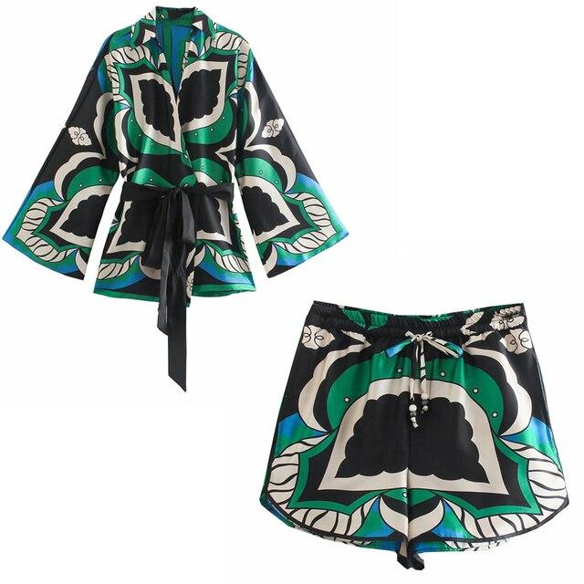 PSEEWE Za 2021 Bermuda Shorts Woman Summer Green Print High Waist Short Pants Women Vintage Loose Casual Streetwear Shorts Sets 6