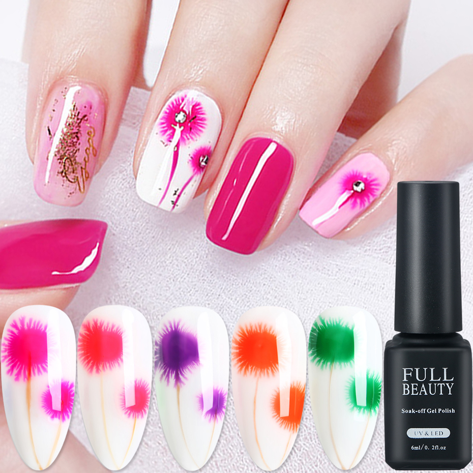 7ml Ice Snowflakes Blooming Nail Art Gel Polish Gradient Magic Flower Smudge Bubble Painting Lacquer  Soak Off Manicure SA1527