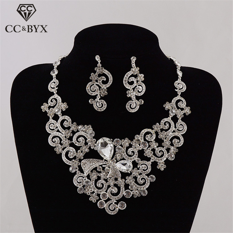 CC Necklace Stud Earrings Jewelry Sets Luxury Pendant Wedding Engagement Accessories For Women Bridal Jewellry CZ Stone TL229