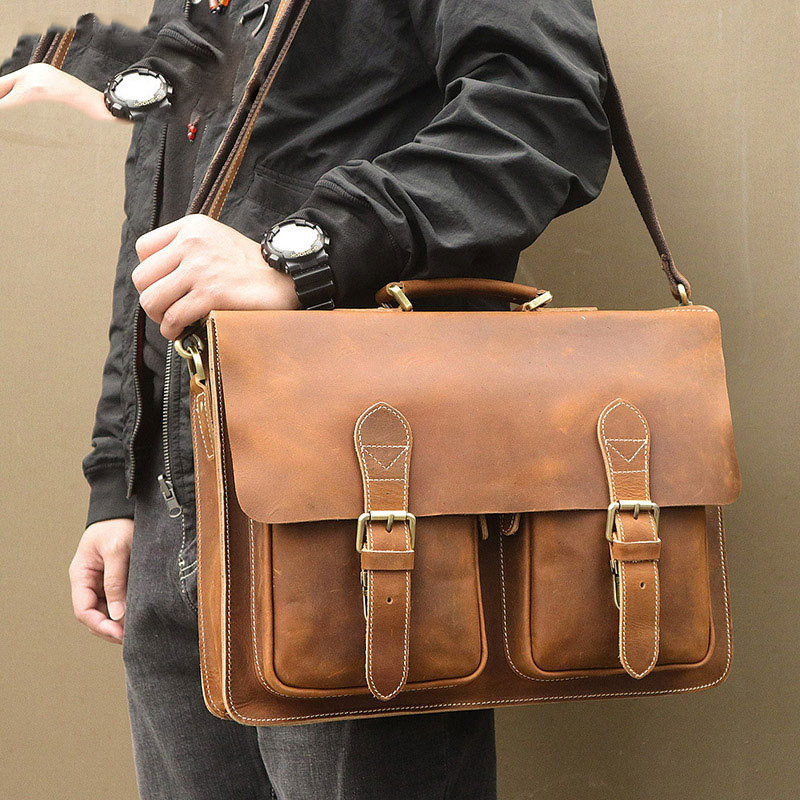 Crazy Horsehide Genuine Leather Male Briefcase Vintage Leather Bag Men Laptop Messenger Bag Men Maletines Hombre Cuero